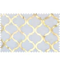 Gold white trellis stencil pattern poly sheer curtains design