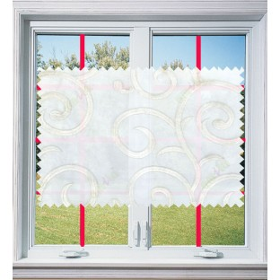 White cream silver color embroidery swirl pattern poly sheer curtains design