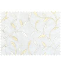 White beige silver color elegant leaf pattern poly sheer curtains design