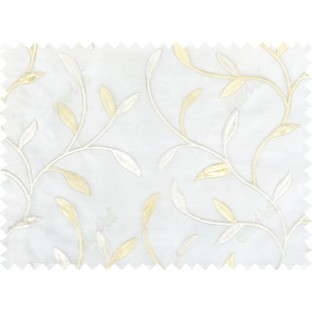 White beige silver color elegant leaf pattern poly sheer curtains design