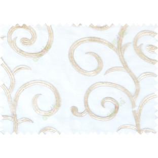 White beige silver color embroidery swirl pattern poly sheer curtains design