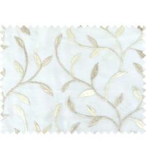 White brown beige color elegant leaf pattern poly sheer curtains design