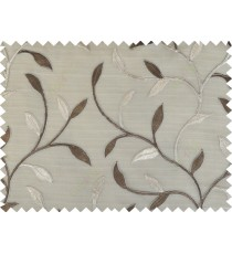Brown silver beige color elegant leaf pattern poly sheer curtains design