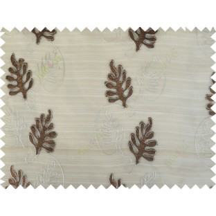 Brown silver color vertical floral stripes design poly sheer curtain - 103561