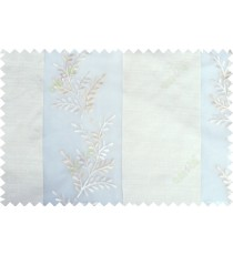 White beige color thick fab stripes with embroidery leaf pattern poly sheer curtain - 103562