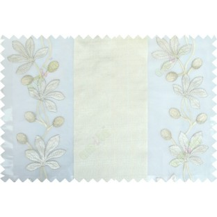White beige color thick fab stripes with embroidery floral pattern poly sheer curtain - 103563