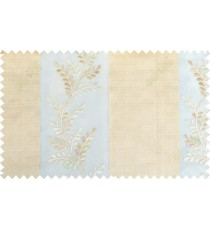 Beige white color thick fab stripes with embroidery leaf pattern poly sheer curtain - 103564