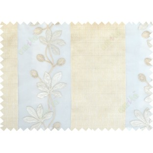 Beige gold grey color thick fab stripes with embroidery floral pattern poly sheer curtain - 103565