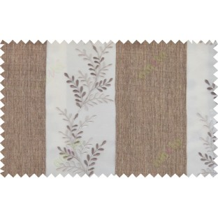 Brown beige color thick fab stripes with embroidery leaf pattern poly sheer curtain - 103566