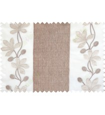 Brown gold beige color thick fab stripes with embroidery floral pattern poly sheer curtain - 113567