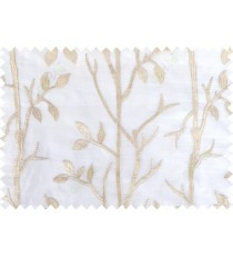 Beige white color twigs poly sheer curtain - 103576