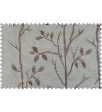 Brown gold color twigs poly sheer curtain - 103582