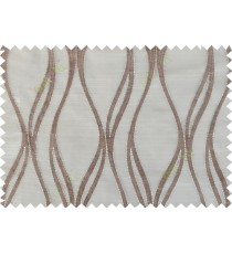 Brown gold color vertical wavy stripes poly sheer curtain - 103583