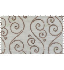 Brown gold color embroidery swirl pattern poly main curtain - 103585