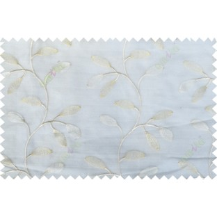 Pure white gold color beautiful floral design poly sheer curtain - 103587