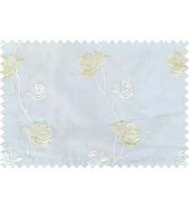 Pure white beige color elegant flower design poly sheer curtain - 103588