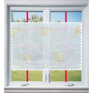 Pure white beige color elegant flower design poly sheer curtain - 103588