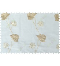 White brown color elegant flower design poly sheer curtain - 113591