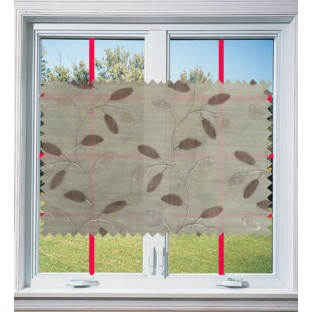 Brown grey color beautiful floral design poly sheer curtain - 103593