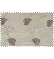 Brown beige color elegant flower design poly sheer curtain - 103594