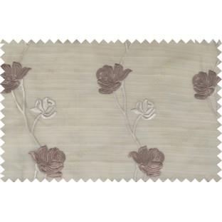 Brown beige color elegant flower design poly sheer curtain - 103594
