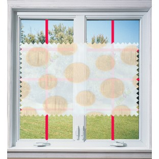 Gold white color geometrical pattern poly sheer curtain - 103597