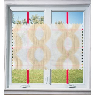 Gold white color vertical flowing waves design poly sheer curtain - 103599