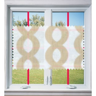 Brown white color vertical flowing waves design poly sheer curtain - 103601