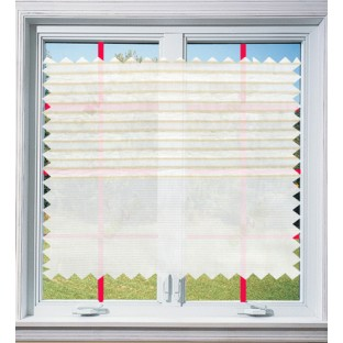 Beige white beige color horizontal stripes poly main curtain - 103602