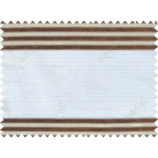 Brown white beige color horizontal stripes poly main curtain - 103606