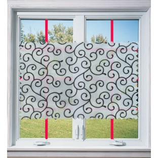 Pure black and white color swirl poly sheer curtain - 113608