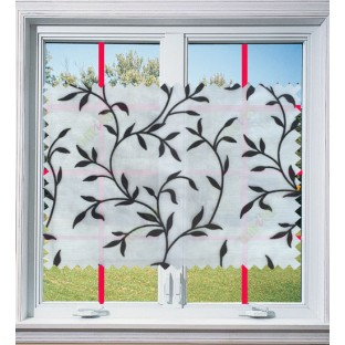 Pure black and white color floral design poly sheer curtain - 1035609