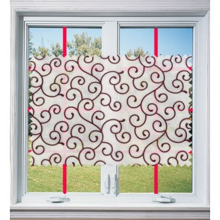 Maroon white color swirl poly sheer curtain - 103611