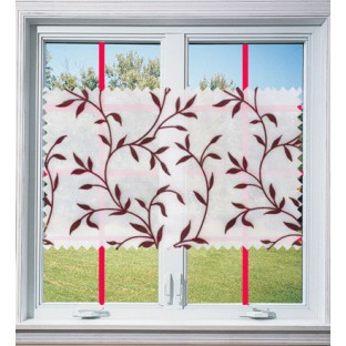 Maroon white color floral design poly sheer curtain - 103612
