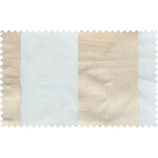 White beige color vertical thick stripes poly sheer curtain - 103614