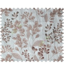 Grey brown green traditional floral design poly main curtain designs