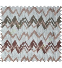 Grey brown green color horizontal zigzag stripes poly main curtain designs