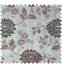 Grey brown green colour beautiful natural floral design poly main curtain designs