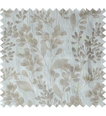 Grey brown traditional floral design poly main curtain designs