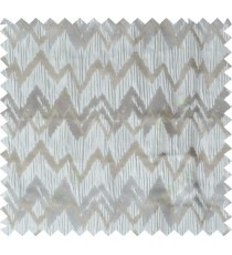 Grey brown beige color horizontal zigzag stripes poly main curtain designs