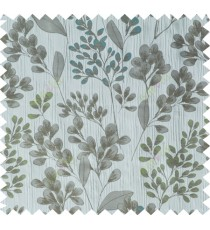 Grey green blue traditional floral design poly main curtain designs