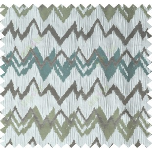 Green grey brown blue color horizontal zigzag stripes poly main curtain designs