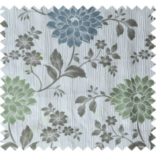 Green grey brown colour beautiful natural floral design poly main curtain designs