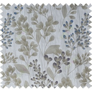 Blue brown grey traditional floral design poly main curtain designs