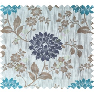 Blue brown grey colour beautiful natural floral design poly main curtain designs