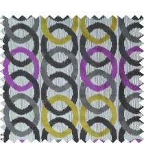 Grey black purple yellow colour geometric circles poly main curtain designs