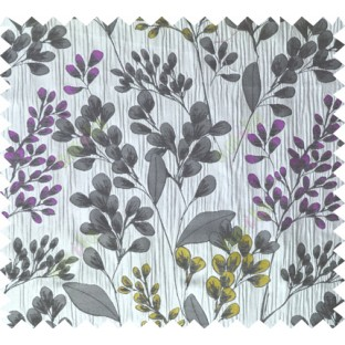 Yellow purple black grey traditional floral design poly main curtain designs