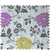 Black purple grey yellow colour beautiful natural floral design poly main curtain designs