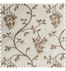 Light brown beige white color beautiful floral leaves embroidery pattern small flowers flowing tress flower buds cotton finished main curtain