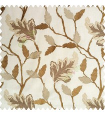 Light brown traditional designs embroidery floral leaves beautiful trees with cotton base fabric weaving pattern main curtain